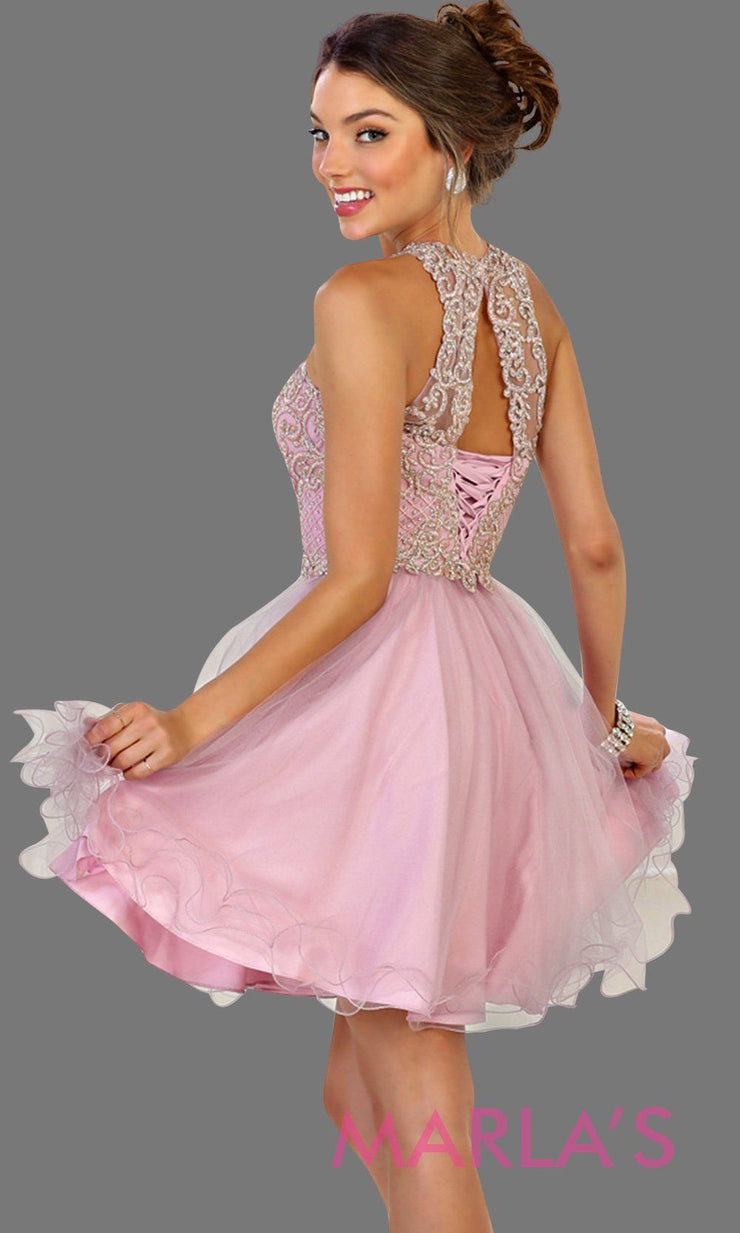 Back of Short high neck puffy mauve dress with lace top. Perfect for grade 8 grad, graduation, dusty rose confirmation, short prom,  quinceanera damas, sweet 16, sweet 15, 18th birthday, semi formal, ballerina dress. Available in plus sizes.