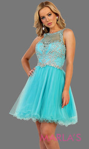 Short high neck puffy aqua blue dress with lace top. Perfect for grade 8 grad, graduation, torquoise blue confirmation, short prom,  quinceanera damas, sweet 16, sweet 15, 18th birthday, semi formal, ballerina dress. Available in plus sizes.