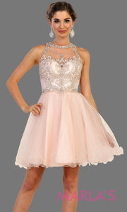 Short high neck puffy blush pink dress with lace top. Perfect for grade 8 grad, graduation, light pink confirmation, short prom,  quinceanera damas, sweet 16, sweet 15, 18th birthday, semi formal, ballerina dress. Available in plus sizes.