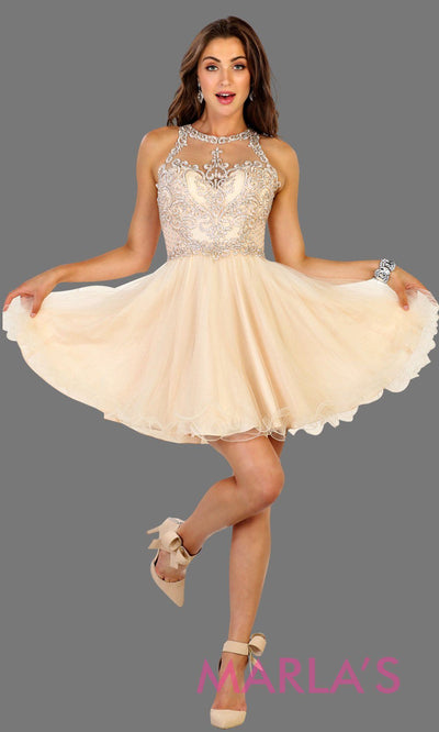 Short high neck puffy champagne dress with lace top. Perfect for grade 8 grad, graduation, light gold confirmation, short prom,  quinceanera damas, sweet 16, sweet 15, 18th birthday, semi formal, ballerina dress. Available in plus sizes.