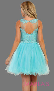 Back of Short high neck puffy aqua blue dress with lace top. Perfect for grade 8 grad, graduation, torquoise confirmation, short prom,  quinceanera damas, sweet 16, sweet 15, 18th birthday, semi formal, ballerina dress. Available in plus sizes.