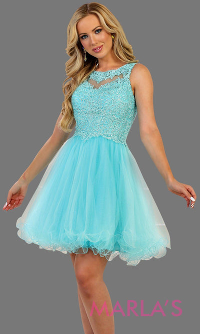 Short high neck puffy aqua blue dress with lace top. Perfect for grade 8 grad, graduation, torquoise confirmation, short prom,  quinceanera damas, sweet 16, sweet 15, 18th birthday, semi formal, ballerina dress. Available in plus sizes.