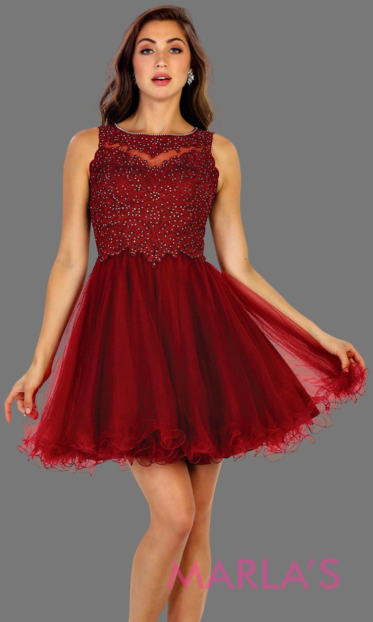 Short high neck puffy burgundy dress with lace top. Perfect for grade 8 grad, graduation, dark red confirmation, short prom,  quinceanera damas, sweet 16, sweet 15, 18th birthday, semi formal, ballerina dress. Available in plus sizes.