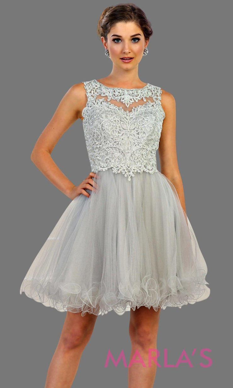 Short high neck puffy light gray dress with lace top. Perfect for grade 8 grad, graduation, light silver confirmation, short prom,  quinceanera damas, sweet 16, sweet 15, 18th birthday, semi formal, ballerina dress. Available in plus sizes.