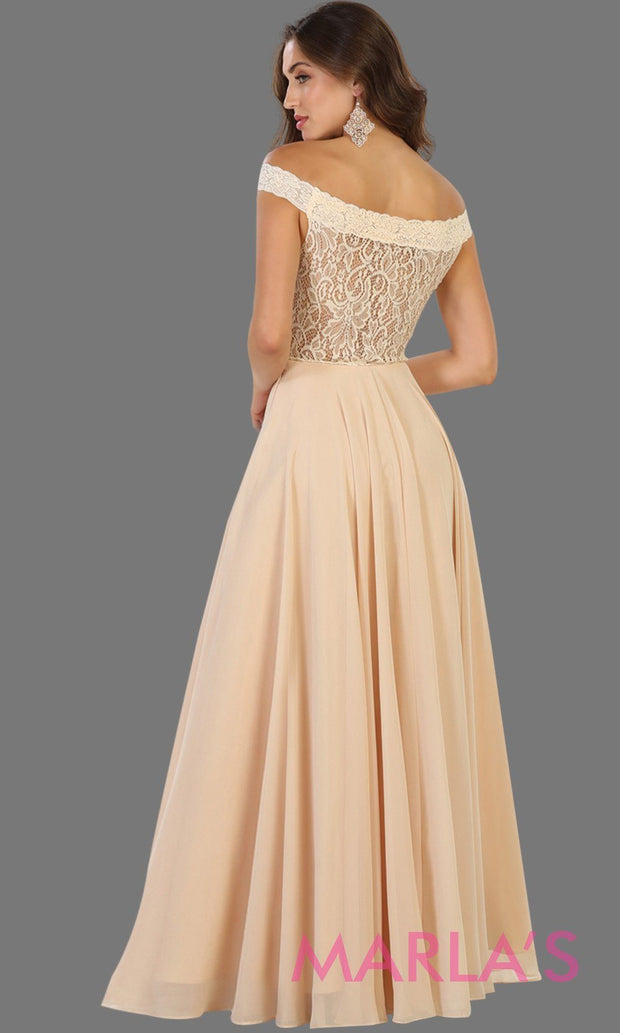 Back of Long champagne off shoulder dress with lace top. It has a flowy aline skirt. Perfect for light gold bridesmaids, prom, wedding guest dress, gala, formal party evening gown. Available in plus sizes.
