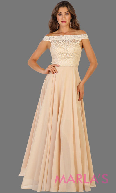 Long champagne off shoulder dress with lace top. It has a flowy aline skirt. Perfect for light gold bridesmaids, prom, wedding guest dress, gala, formal party evening gown. Available in plus sizes.