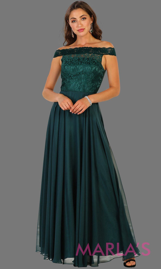 Long dark green off shoulder dress with lace top. It has a flowy aline skirt. Perfect for hunter green bridesmaids, prom, wedding guest dress, gala, formal party evening gown. Available in plus sizes.