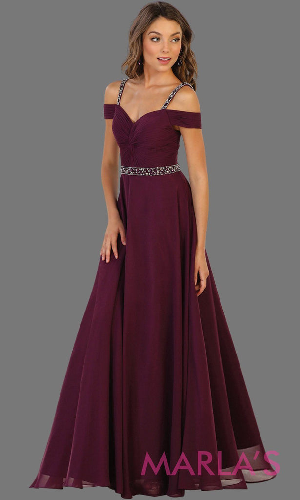 670b7ca4879f Long purple flowy dress with cold shoulder and beaded waist.