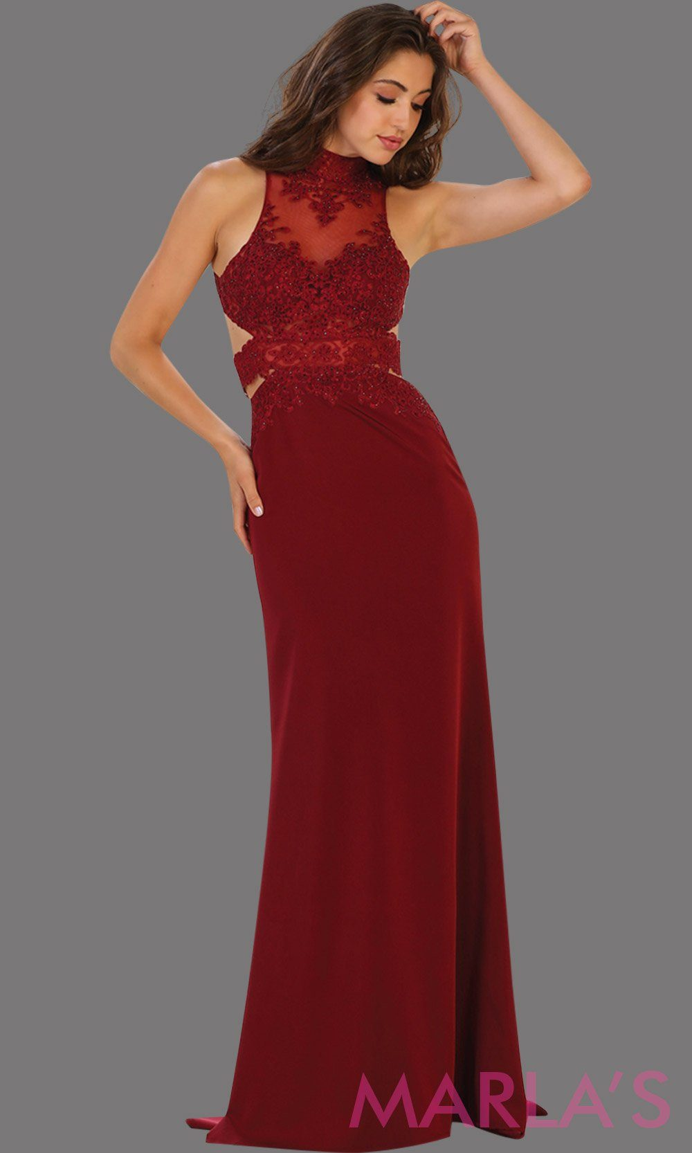 Long burgundy open back fitted dress. This low back dark red gown is perfect for prom, formal gala, formal wedding, reception, engagement dress. Features high neck with illusion waist, neckline, low back.