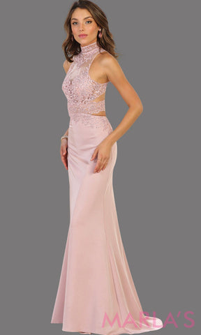 Long dusty rose open back fitted dress. This low back pink gown is perfect for prom, formal gala, formal wedding, reception, engagement dress. Features high neck with illusion waist, neckline, low back. side