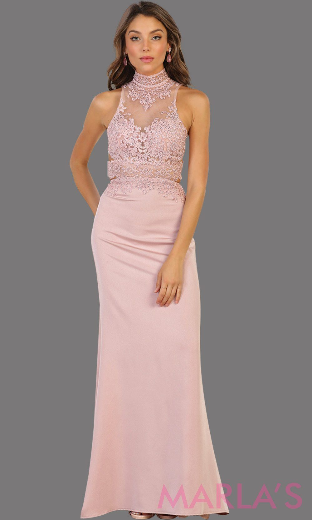 Long dusty rose open back fitted dress. This low back pink gown is perfect for prom, formal gala, formal wedding, reception, engagement dress. Features high neck with illusion waist, neckline, low back.