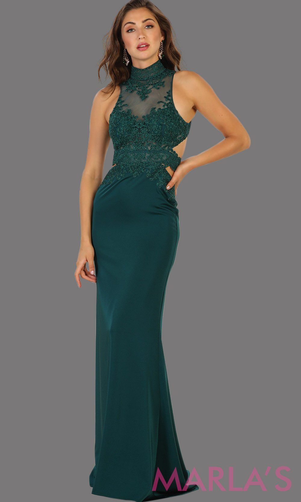 Long hunter green open back fitted dress. Low back dark green gown is perfect for prom, formal gala, formal wedding, reception, engagement dress. Features high neck with illusion waist, neckline, low back.