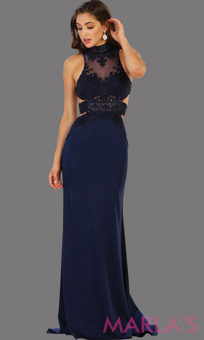 Long navy open back fitted dress. Low back dark blue gown is perfect for prom, formal gala, formal wedding, reception, engagement dress. Features high neck with illusion waist, neckline, low back.