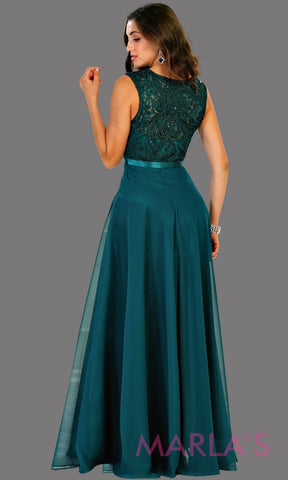 Back of Long flowy dark green high neck lace party dress. Perfect for modest prom dress, simple bridesmaid dress, evening dress, hunter green party dress, long western party dress. Available in plus sizes.