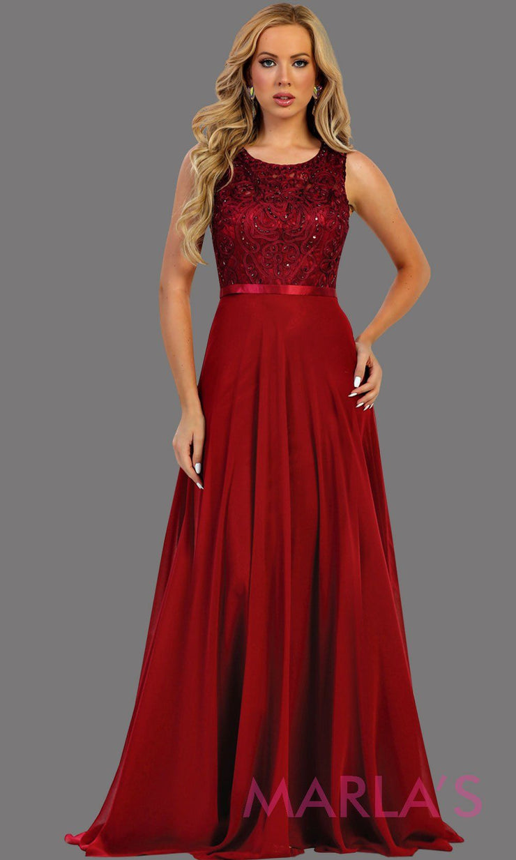 Long flowy burgundy high neck lace party dress. Perfect for modest dark red prom dress, simple bridesmaid dress, evening dress, burgundyparty dress, long western party dress, destination wedding dress. Available in plus sizes.