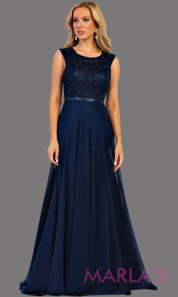 913bdad4e36 Long flowy dark blue high neck lace party dress. Perfect for modest navy  blue prom ...