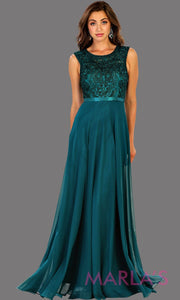 Long flowy dark green high neck lace party dress. Perfect for modest prom dress, simple bridesmaid dress, evening dress, hunter green party dress, long western party dress. Available in plus sizes.