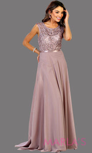 Long flowy mocha high neck lace party dress. Perfect for modest prom dress, simple bridesmaid dress, evening dress, mauve party dress, long western party dress. Available in plus sizes.