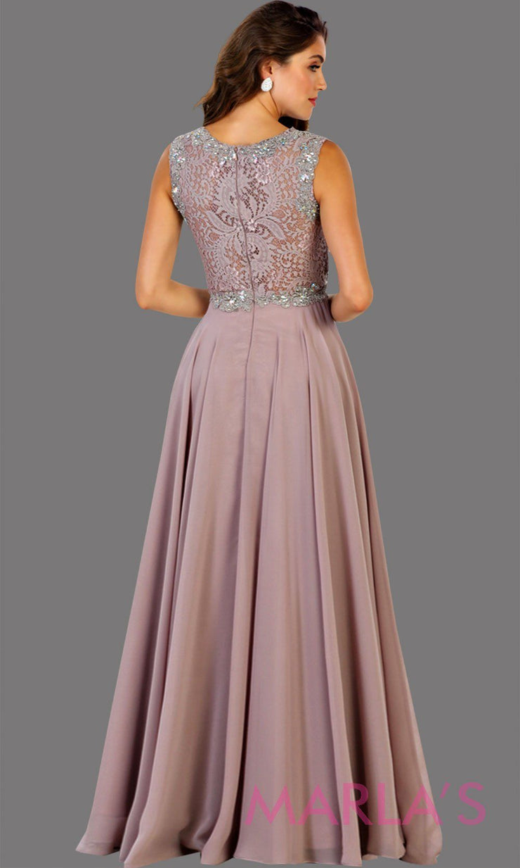 Back of Long flowy mocha high neck lace party dress with see thru waist. Perfect for modest prom dress, simple bridesmaid dress, evening dress, mauve party dress, long western party dress. Available in plus sizes.