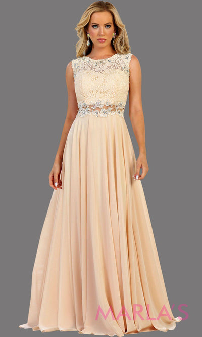 Long flowy champagne high neck lace party dress with see thru waist. Perfect for modest prom dress, simple bridesmaid dress, evening dress, light gold party dress, long western party dress. Available in plus sizes.