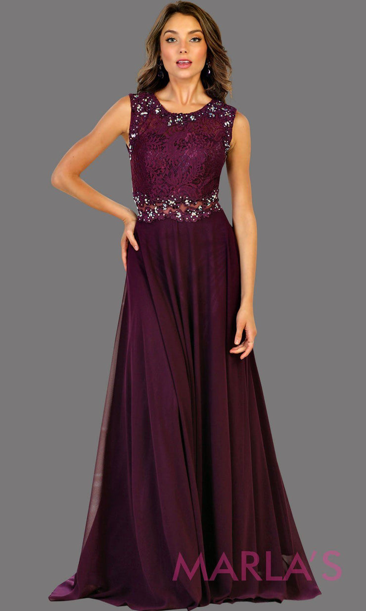 Long flowy dark purple high neck lace party dress with see thru waist. Perfect for modest prom dress, simple bridesmaid dress, evening dress, eggplant party dress, long western party dress. Available in plus sizes.