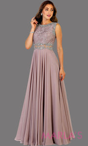 Long flowy mocha high neck lace party dress with see thru waist. Perfect for modest prom dress, simple bridesmaid dress, evening dress, mauve party dress, long western party dress. Available in plus sizes.