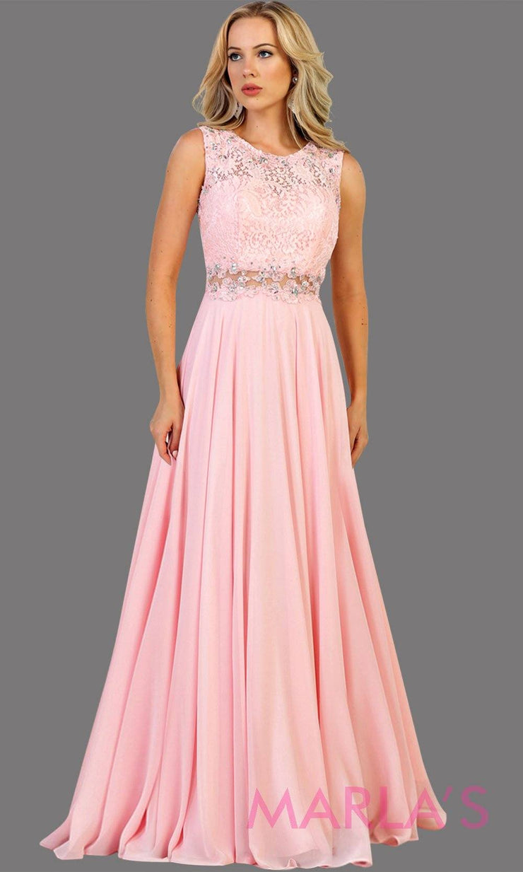 Long flowy pink blush high neck lace party dress with see thru waist. Perfect for modest prom dress, simple bridesmaid dress, evening dress, light pink party dress, long western party dress. Available in plus sizes.