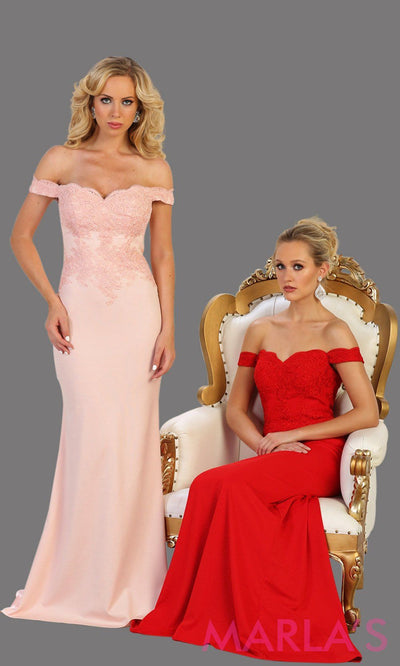 Long blush pink off shoulder dress with lace. This sleek and sexy pink dress is perfect for prom, formal wedding, bridesmaid dresses, fitted wedding guest dress, gala, engagement dress. Available in plus sizes
