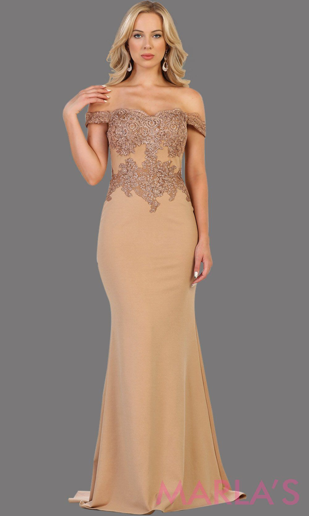 Long champagne off shoulder dress with lace. This sleek and sexy taupe dress is perfect for prom, formal wedding, bridesmaid dresses, fitted wedding guest dress, gala, engagement dress. Available in plus sizes