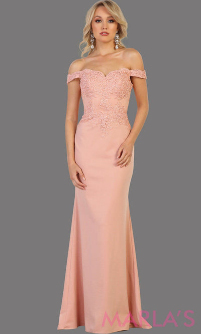 Long dusty rose off shoulder dress with lace. This sleek and sexy pink dress is perfect for prom, formal wedding, bridesmaid dresses, fitted wedding guest dress, gala, engagement dress. Available in plus sizes