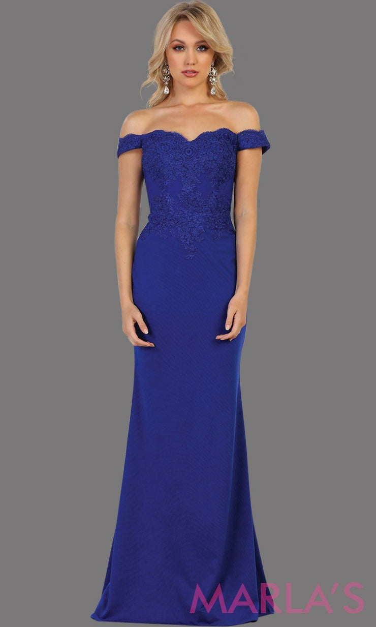 Long royal blue off shoulder dress with lace. This sleek and sexy blue dress is perfect for prom, formal wedding, bridesmaid dresses, fitted wedding guest dress, gala, engagement dress. Available in plus sizes