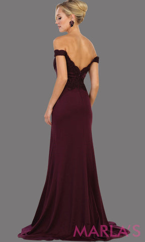 Long dark purple off shoulder dress with lace. This sleek and sexy eggplant dress is perfect for prom, formal wedding, bridesmaid dresses, fitted wedding guest dress, gala, engagement dress. Available in plus sizes