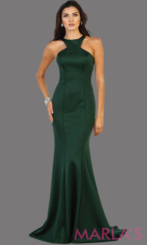 Long dark green open back mermaid dress with high neck and open back. Perfect for long prom, engagement dress, formal wedding guest dress, hunter green gala dress, charity event, evening gown, formal party dress