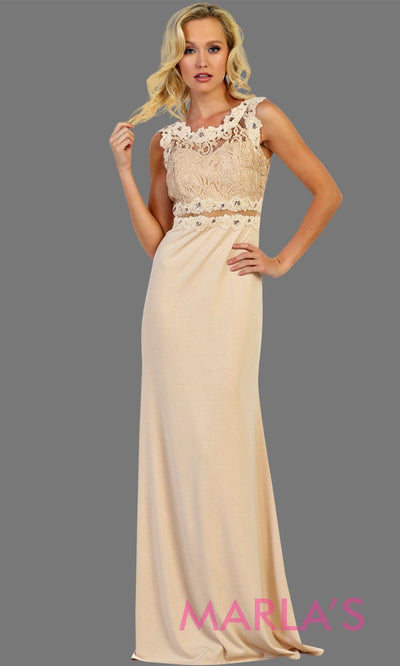 Long champagne fitted party dress with lace top and see thru waist and back. This sleek and sexy gown is perfect for prom, formal party, gala event, light gold fitted wedding guest dress, bridesmaid, modest gown. Available in plus sizes.