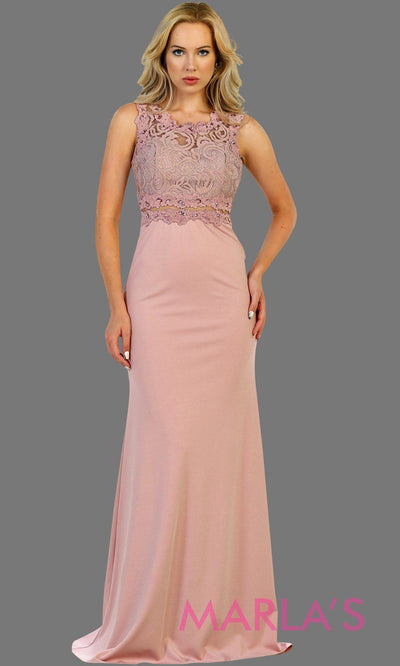 Long dusty rose fitted party dress with lace top and see thru waist and back. This sleek and sexy gown is perfect for prom, formal party, gala event, dusty pink fitted wedding guest dress, bridesmaid, modest gown. Available in plus sizes.