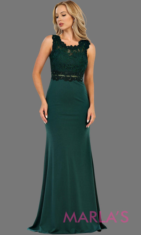 638f89b82e Long hunter green or emerald fitted party dress with lace top and see thru  waist and