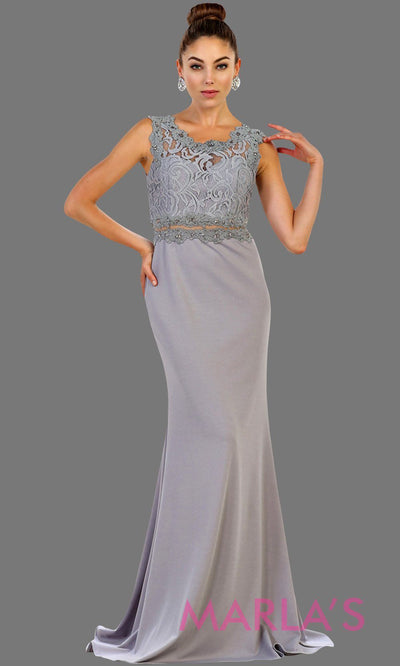 Long light gray or silver fitted party dress with lace top and see thru waist and back. This sleek and sexy gown is perfect for prom, formal party, gala event, light grey fitted wedding guest dress,bridesmaid,modest gown. Available in plus sizes.