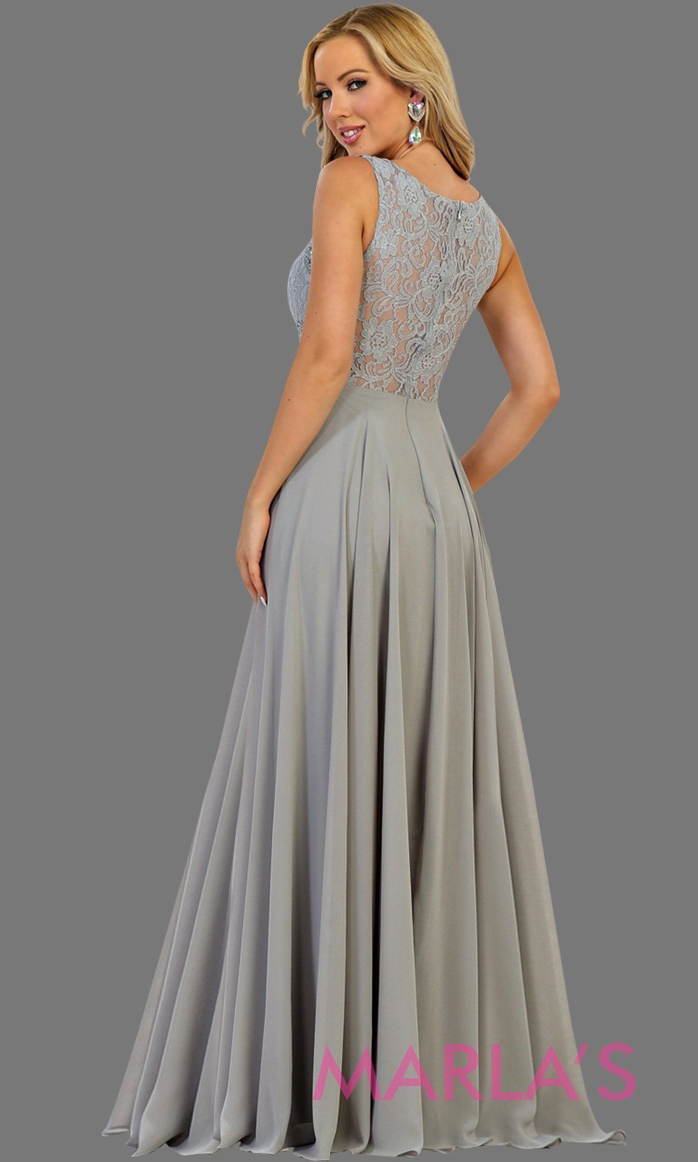 Back of Long light gray or silver flowy party dress with lace top and see thru waist and back. This gray dress is perfect for prom, formal party, gala event, light gray flowy wedding guest dress, modest gown, bridesmaid. Available in plus sizes.