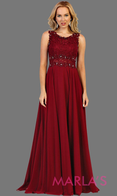 Long burgundy flowy dress with lace top and lace back. This dark red dress is perfect for prom, gala, formal wedding guest dress, gala, charity event, destination wedding guest dress, bridesmaid dress. Available in plus sizes.