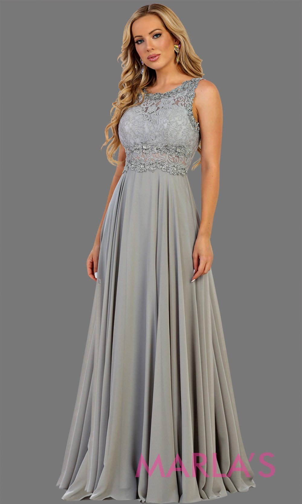 Long light gray or silver flowy party dress with lace top and see thru waist and back. This gray dress is perfect for prom, formal party, gala event, light gray flowy wedding guest dress, modest gown,bridesmaid dress. Available in plus sizes.
