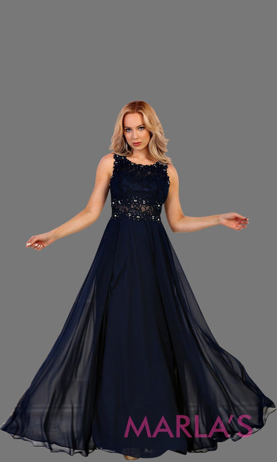 Long navy flowy dress with lace top and lace back. This dark blue dress is perfect for prom, gala, formal wedding guest dress, gala, charity event, destination wedding guest dress, bridesmaid dress. Available in plus sizes.