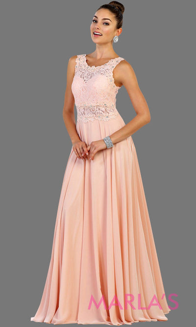 Long pink blush flowy dress with lace top and lace back. This light pink dress is perfect for prom, gala, formal wedding guest dress, gala, charity event, destination wedding guest dress, bridesmaid dress. Available in plus sizes.