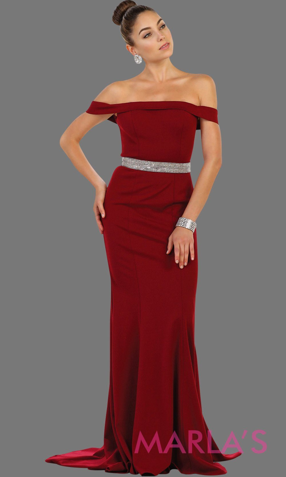 Long fitted burgundy off shoulder party dress with rhinestone belt. Perfect for dark red bridesmaid dresses, prom, wedding guest dress, pink formal party gown, sleek and sexy party gown. Available in Plus Sizes.