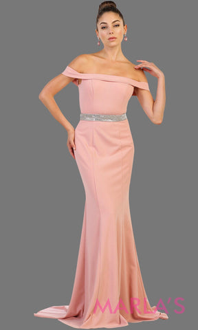 Long fitted dusty rose off shoulder party dress with rhinestone belt. Perfect for pink bridesmaid dresses, prom, wedding guest dress, pink formal party gown, sleek and sexy party gown. Available in Plus Sizes.