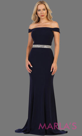 Long fitted navy off shoulder party dress with rhinestone belt. Perfect for pink bridesmaid dresses, prom, wedding guest dress, dark blue formal party gown, sleek and sexy party gown. Available in Plus Sizes.