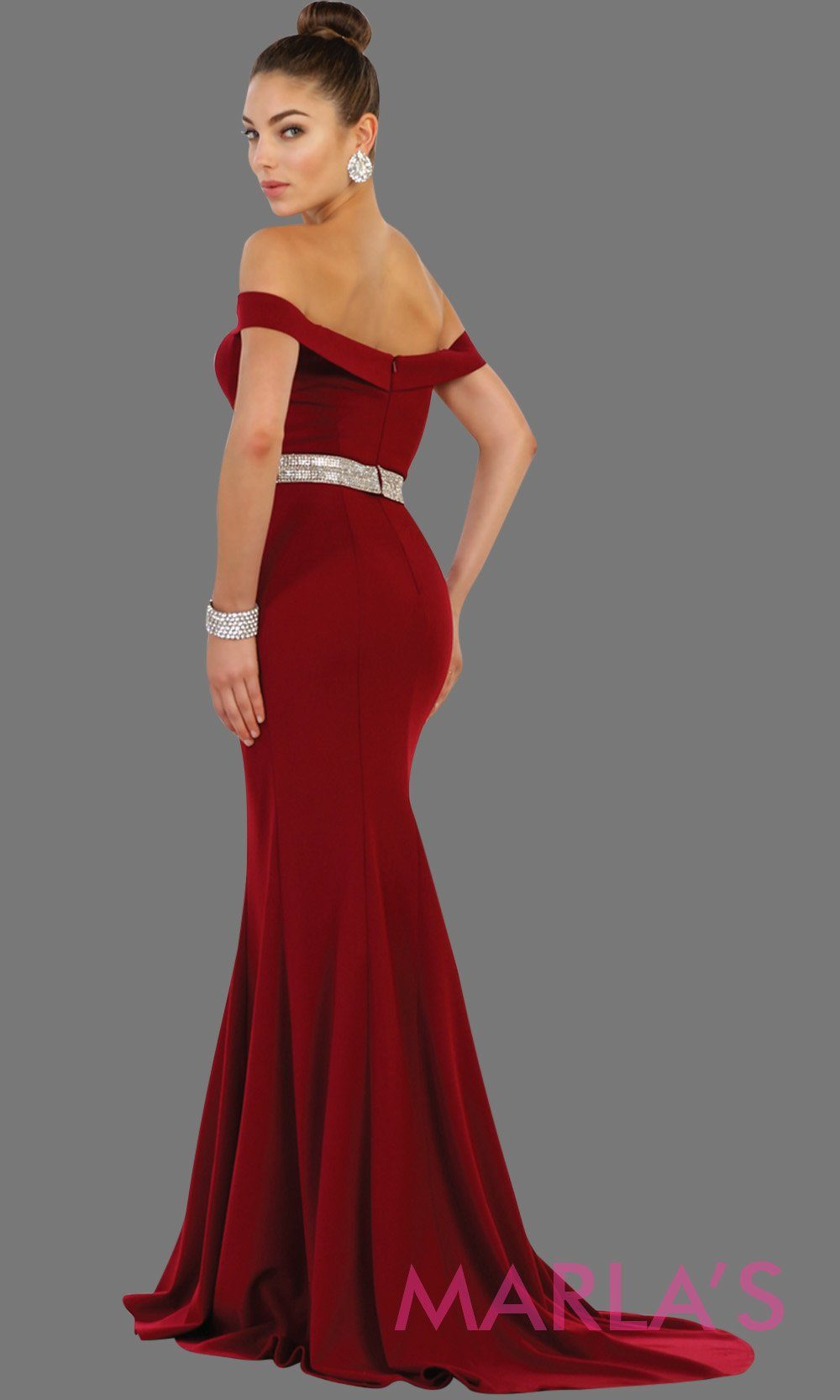 Back of Long fitted burgundy off shoulder party dress with rhinestone belt. Perfect for dark red bridesmaid dresses, prom, wedding guest dress, pink formal party gown, sleek and sexy party gown. Available in Plus Sizes.