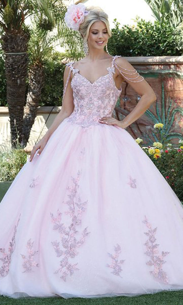 Dancing Queen - 1546 Embroidered V Neck Gown In Pink