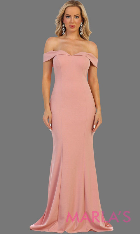 Long off shoulder dusty rose fitted sleek and sexy dress with corset back. Perfect for pink prom dress wedding guest dress, bridesmaid dress, formal party gown, gala, destination wedding Available in plus sizes.
