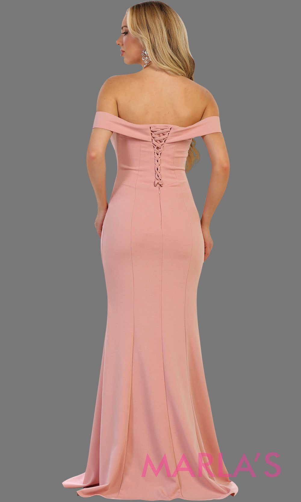 Back of Long off shoulder dusty rose fitted sleek and sexy dress with corset back. Perfect for pink prom dress wedding guest dress, bridesmaid dress, formal party gown, gala, destination wedding Available in plus sizes.