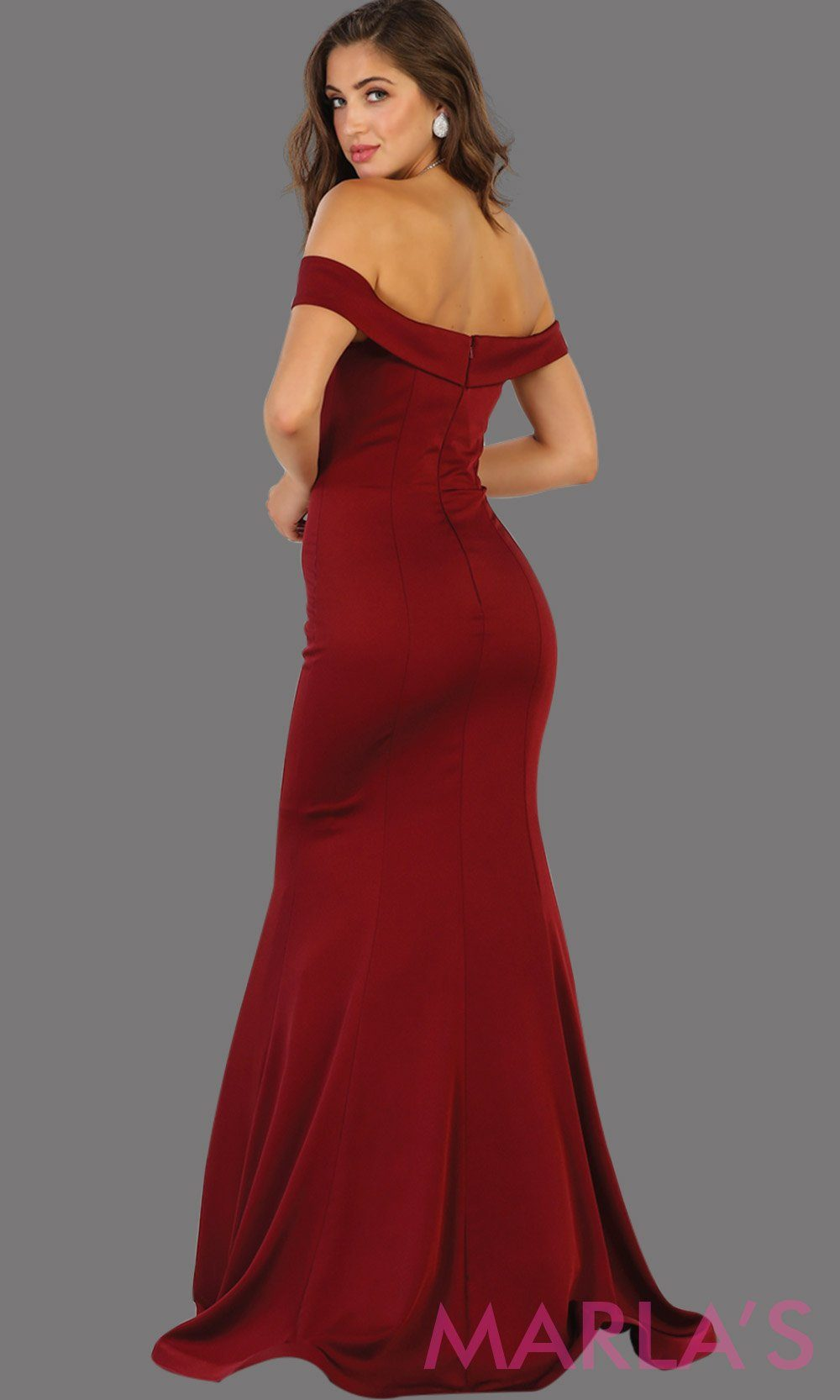Back Long off shoulder dark red  fitted mermaid dress. This sleek and sexy burgundy dress is perfect for bridesmaid dress, formal wedding party, wedding guest dress, gala, charity event dress. Available in plus size